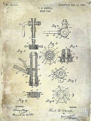 Stein Photograph - 1903 Beer Tap Patent by Jon Neidert