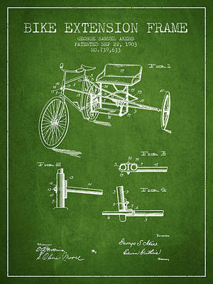 Bicycle Drawing - 1903 Bike Extension Frame Patent - Green by Aged Pixel