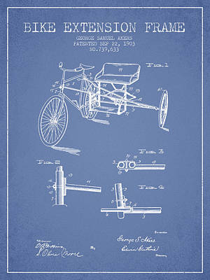 Bicycle Drawing - 1903 Bike Extension Frame Patent - Light Blue by Aged Pixel
