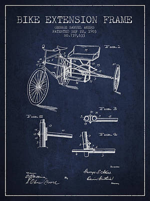 Bicycle Drawing - 1903 Bike Extension Frame Patent - Navy Blue by Aged Pixel