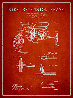 Bicycle Drawing - 1903 Bike Extension Frame Patent - Red by Aged Pixel