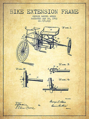 Bicycle Drawing - 1903 Bike Extension Frame Patent - Vintage by Aged Pixel