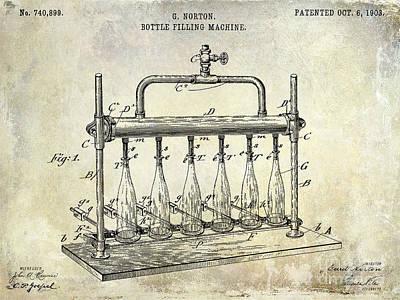 1903 Bottle Filling Patent Print by Jon Neidert