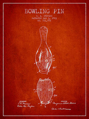 1903 Bowling Pin Patent - Red Print by Aged Pixel