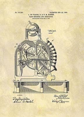 Commerce Mixed Media - 1903 Cash Register Patent by Dan Sproul