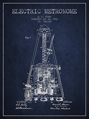 Musicians Drawing - 1903 Electric Metronome Patent - Navy Blue by Aged Pixel