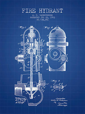 1903 Fire Hydrant Patent - Blueprint Print by Aged Pixel