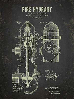 1903 Fire Hydrant Patent - Dark Grunge Print by Aged Pixel
