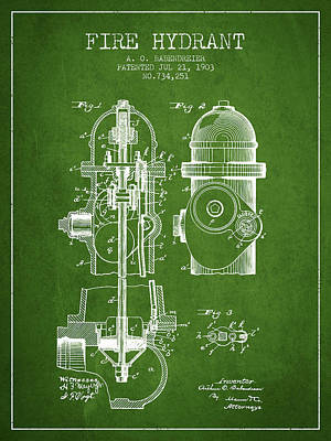 1903 Fire Hydrant Patent - Green Print by Aged Pixel