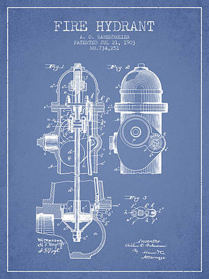1903 Fire Hydrant Patent - Light Blue Print by Aged Pixel