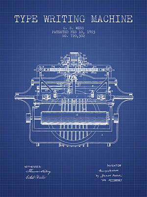 1903 Type Writing Machine Patent - Blueprint Print by Aged Pixel
