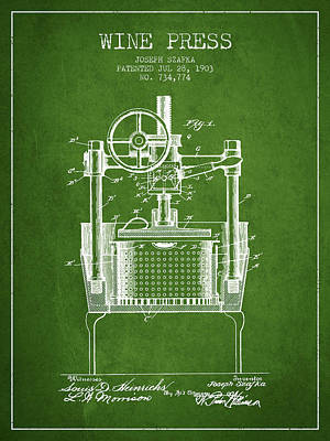 White Wine Drawing - 1903 Wine Press Patent - Green by Aged Pixel