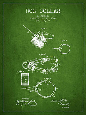 Dogs Drawing - 1904 Dog Collar Patent - Green by Aged Pixel