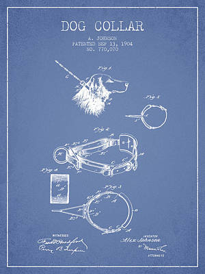 Dogs Drawing - 1904 Dog Collar Patent - Light Blue by Aged Pixel