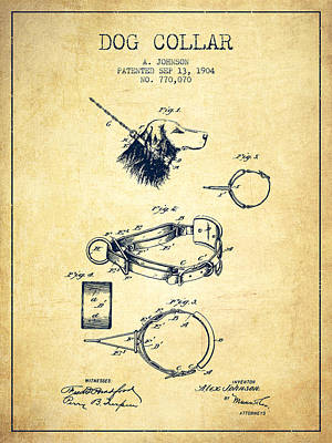 Dogs Drawing - 1904 Dog Collar Patent - Vintage by Aged Pixel