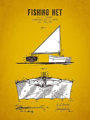 1905 Fishing Net Patent - Yellow Brown Print by Aged Pixel