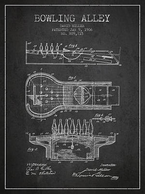 1906 Bowling Alley Patent - Charcoal Print by Aged Pixel