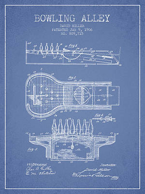 1906 Bowling Alley Patent - Light Blue Print by Aged Pixel