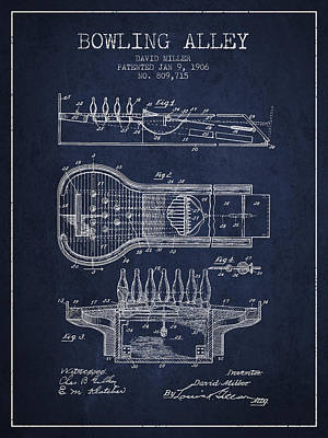 1906 Bowling Alley Patent - Navy Blue Print by Aged Pixel