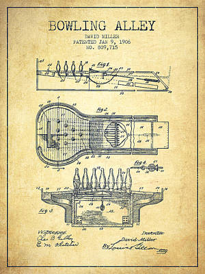 Pin Drawing - 1906 Bowling Alley Patent - Vintage by Aged Pixel