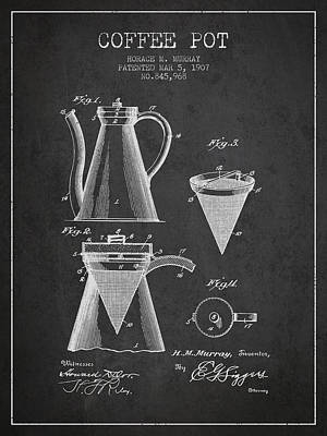 Restaurant Art Drawing - 1907 Coffee Pot Patent - Charcoal by Aged Pixel