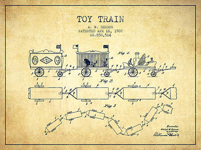 Transportation Drawing - 1907 Toy Train Patent - Vintage by Aged Pixel