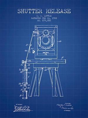 Camera Drawing - 1908 Shutter Release Patent - Blueprint by Aged Pixel