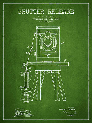 1908 Shutter Release Patent - Green Print by Aged Pixel