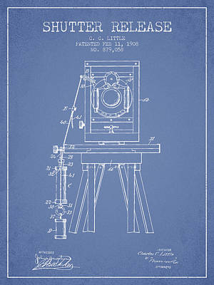1908 Shutter Release Patent - Light Blue Print by Aged Pixel