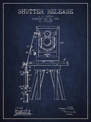 Camera Drawing - 1908 Shutter Release Patent - Navy Blue by Aged Pixel