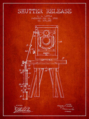 1908 Shutter Release Patent - Red Print by Aged Pixel