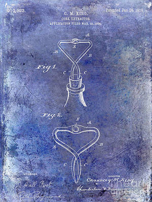 Wine Vineyard Photograph - 1909 Cork Extractor Patent Blue by Jon Neidert
