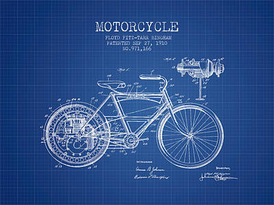 Bike Drawing - 1910 Motorcycle Patent - Blueprint by Aged Pixel