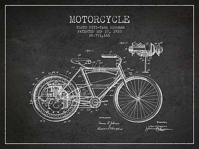 Bike Drawing - 1910 Motorcycle Patent - Charcoal by Aged Pixel
