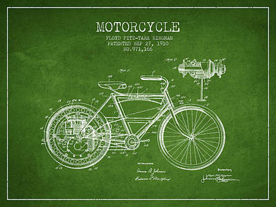 Bike Drawing - 1910 Motorcycle Patent - Green by Aged Pixel