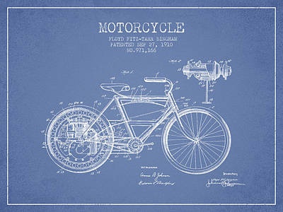 Bike Drawing - 1910 Motorcycle Patent - Light Blue by Aged Pixel