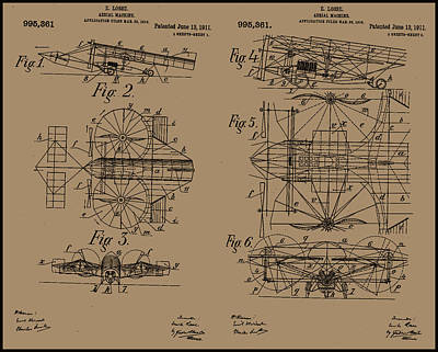 Areoplanes Painting - 1911 Aerial Machine Patent Drawing by Emile Losse
