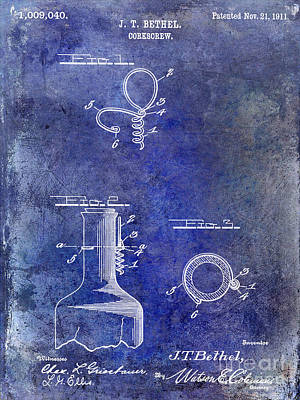 Wine Vineyard Photograph - 1911 Corkscrew Patent Blue by Jon Neidert
