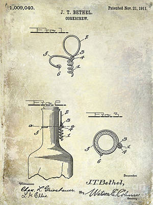 Wine Vineyard Photograph - 1911 Corkscrew Patent  by Jon Neidert
