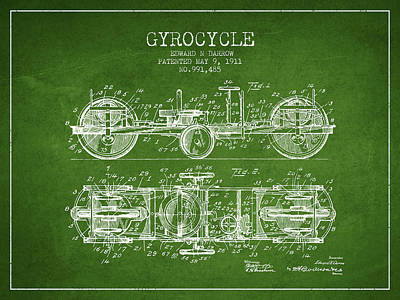 Bike Drawing - 1911 Gyrocycle Patent - Green by Aged Pixel