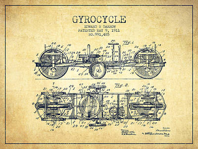 Bike Drawing - 1911 Gyrocycle Patent - Vintage by Aged Pixel