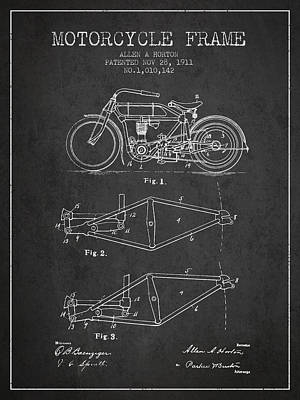 Bike Drawing - 1911 Motorcycle Frame Patent - Charcoal by Aged Pixel