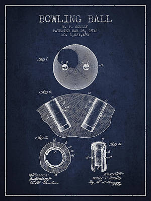 1912 Bowling Ball Patent - Navy Blue Print by Aged Pixel