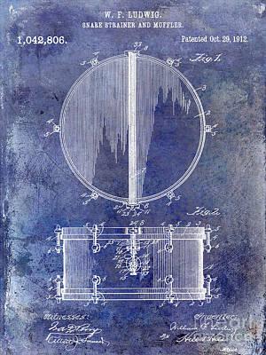 1912 Ludwig Drum Patent  Blue Print by Jon Neidert