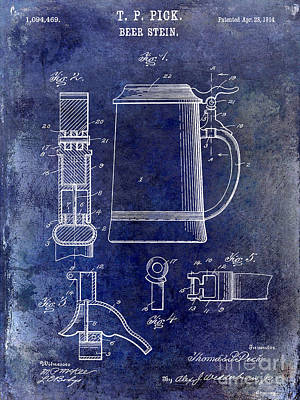 1914 Beer Stein Patent Print by Jon Neidert