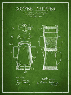 Restaurant Art Drawing - 1914 Coffee Dripper Patent - Green by Aged Pixel