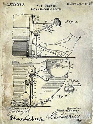 1914 Drum And Cymbal Patent Print by Jon Neidert