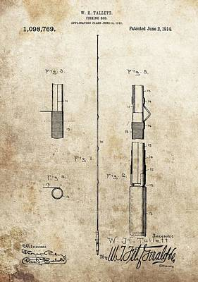 1914 Fishing Rod Patent Print by Dan Sproul