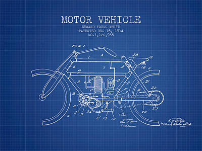 Bike Drawing - 1914 Motor Vehicle Patent - Blueprint by Aged Pixel