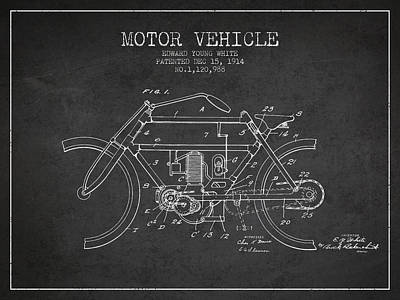 Bike Drawing - 1914 Motor Vehicle Patent - Charcoal by Aged Pixel